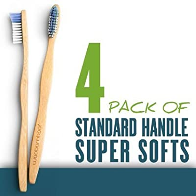 Woo Bamboo STANDARD Toothbrush With SOFT Bristles - Family FOUR PACK