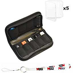 MemoryMarekt Nylon Fabric Storage Holder / Wallet / Carrying Case / Bag / Organizer for USB Flash Drives/Thumb Drives/Pen Drives/Jump Drives with (5) Clear SD Jewel Cases & Lanyard