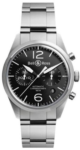 Bell and Ross Officer Automatic Chronograph Black Dial Mens Watch BR126-BL-ST-SS