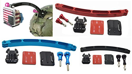ZHOPIX Plastic Alloy Helmet Curved Extension Mount Kit for GOPRO SJCAM YI CAM