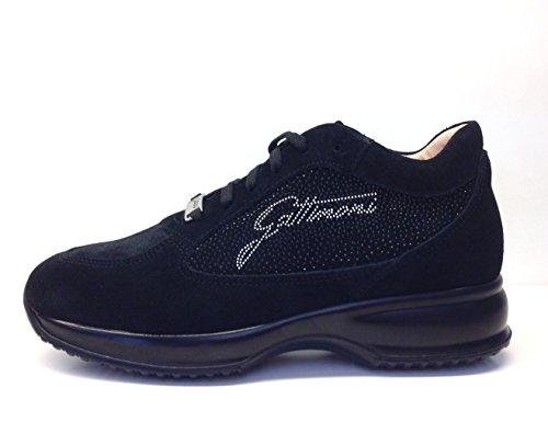 GATTINONI, scarpe donna, PIGAT6039WSA , sneakers, camoscio, brillantini, punti luce,zeppa (39, Black)