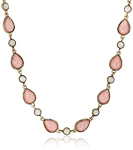 """NINE WEST VINTAGE AMERICA """"Along The Shore"""" Worn Gold Tone Rose Collar Necklace, 18"""""""
