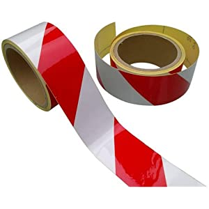 Reflective Tape Red White 50mm X 10M Chevron - Strong Adhesion