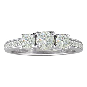 14K White Gold Three Diamond Engagement Ring, Available Ring Sizes 4-9, Ring Size 9 (1 cttw)