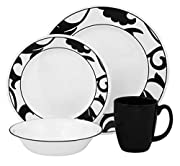16 Pieces Corelle Durable Vitrelle Glass Dinnerware, Break & Chip Resistant Tempered Glass, Made in the USA