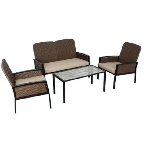 Salottino en polirattan y acero inoxidable, con exterior de sillas y sofás