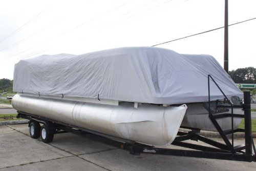 BRAND NEW ULTRA PONTOON BOAT COVER, BEST AVAILABLE, TRI-PURPOSE, FOR STORAGE, MOORING, OR TRAILERING, HAS ELASTIC AND STRAPS FITS 17 18 19 20 FT LONG PLAYPEN AREA GRAY