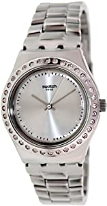 Swatch Women's Irony YLS172G Silver Stainless-Steel Swiss Quartz Watch with Silver Dial