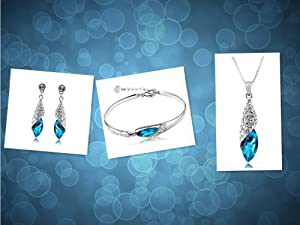niceeshop(TM) Lady Swarovski Elements Crystal Four Leaf Clover Pendant Necklace-Jewelry Blue
