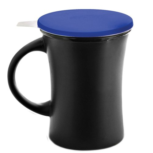 Set Of Ceramic Tea Mug With Blue Silicone Lid And Stainless Steel Strainer