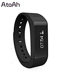 Atoah® New Style Smart Bracelet with Bluestooth 4.0 Touch Screen Wireless Activity and Sleep Pedometer Smart Fitness Tracker Wristband and Support Mobile Device Such As Iphone 5,6 or Other Android Phone by Atoah