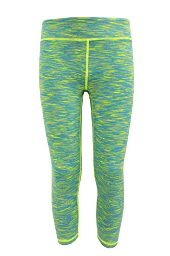 90 Degree by Reflex Kids - Girls Space Dye Yoga Capris - Junior Activewear - Neon Lime Aqua Space Dye Medium (10) (Girls Yoga Pants compare prices)