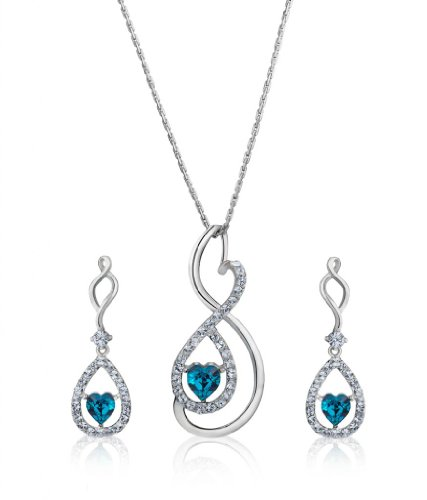 Eclat Rhodium Brass Alloy Pendant Set For Women(613061RM)