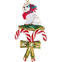 Westie West Highland White Terrier Dogs Candy Cane Christmas Ornament New