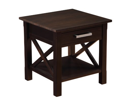simpli home kitchener end table dark walnut brown