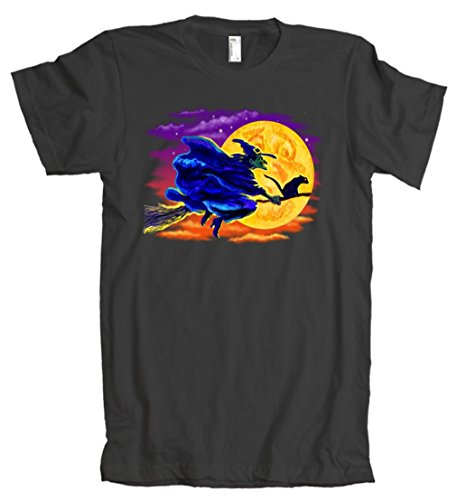 Witch And Broom In Flight American Apparel T-Shirt