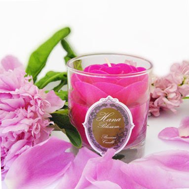 Handmade Fairtrade Beeswax Candle With Moke Flower Scent In Pink Rose Design from Hana Blossom