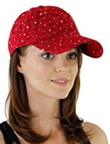 Glitzy Game Sequin Trim Baseball Cap in 21 Assorted Colors Simple Colors: Red