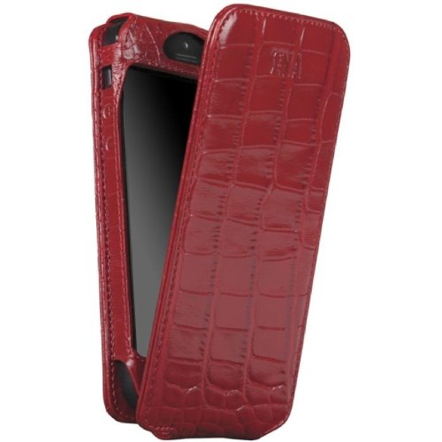 Special Sale Sena 826117 Magnet Flipper Leather Case for iPhone 5 - 1 Pack - Retail Packaging - Croco Red