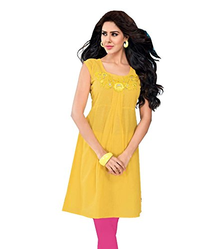 ISHIN Slub linen Cotton Yellow kurti_L
