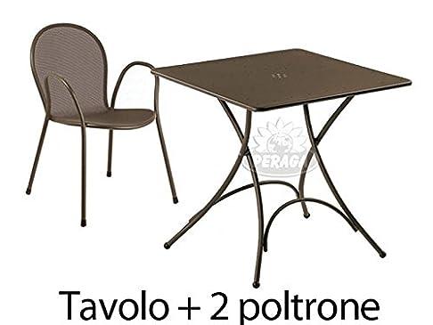 Set da Esterno Tavolo Pigalle 76x76cm più 2 Poltrone Ronda Marrone Emu