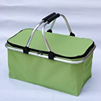 Folding Picnic Insulated Cooler With Aluminum Frame Handles Shopping Baskets