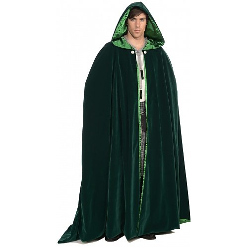 Forum Deluxe Designer Collection Lined Velvet Celtic Cape With Hood, Green, One Size