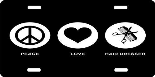 Rikki Knighttm Peace Love Hair Dresser Black Color License Plate front-614842