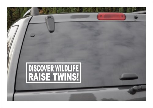 DISCOVER WILDLIFE! RAISE TWINS -window decal (Twins Window Decal compare prices)