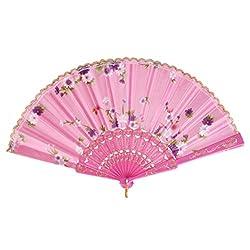 Imported Sweet Style Flowers Hand Fan Folding Fan Dancing Party Fan Pink
