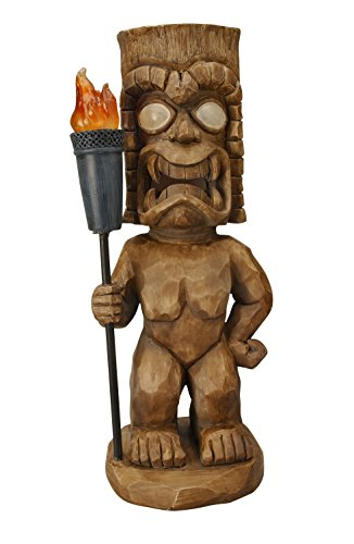 Moonrays 95960 Tiki Themed Outdoor Solar Light, Garden Gnome, Tiki Warrior (Outdoor Pedestal Lights compare prices)