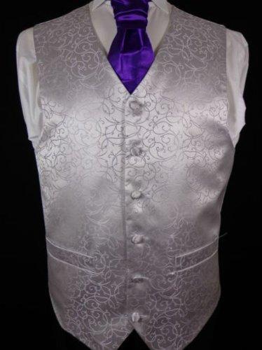 mens silver wedding waistcoat 50
