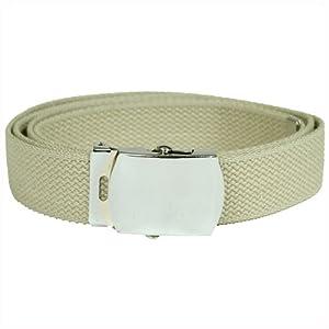 US Combat Style Khaki Web Webbing Belt Silver Buckle by Mil-Tec