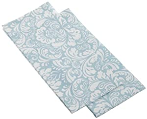 DII Printed Cerulean Blue Damask Dishtowels, Set of 2, Blue