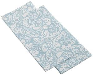 DII Printed Cerulean Blue Damask Dishtowels, Set of 2, Blue