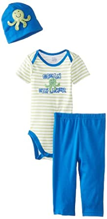 Gerber Baby-Boys Newborn 3 Piece Boys Bodysuit Cap Pants, Octopus, New Born