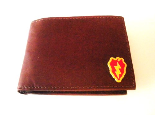 25Th Infantry Division Brown Cowhide Bi-Fold Leather Wallet