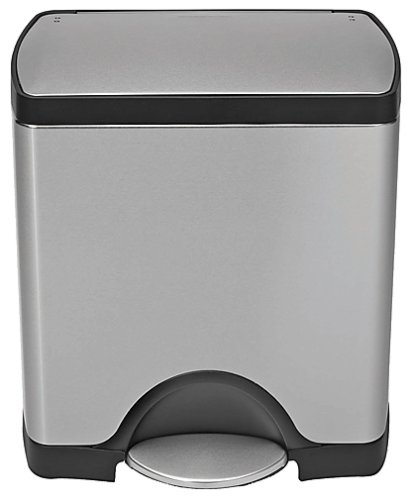 simplehuman Deluxe Rectangular Pedal Bin, 25 Litre with Fingerprint-Proof Brushed Stainless Steel Finish