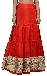 Simple Kaur Women's Silk Ethnic Bottom (simplekaur_0031--S, Red, Small)