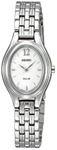Seiko Women's SUP005 Solar Silver Oval Dial Watch