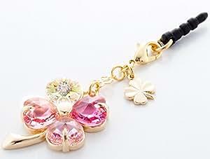 Earphone jack accessories050 four-leaf clover - Gradation(Pink3+Crystal Aurora)Gold Court