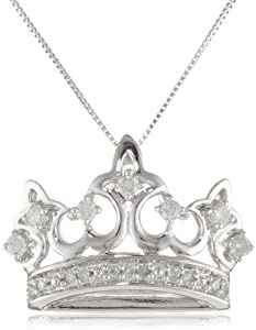 "10k White Gold Diamond Crown Pendant Necklace (1/4 cttw, I-J Color, I2-I3 Clarity), 18"" from Amazon Curated Collection"