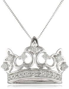 (2.9折)Amazon Curated Diamond Crown 10k白金0.25克拉钻石皇冠项链$226