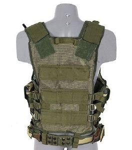 Gilet Veste Tactique Camouflage Woodland Multi Poches Holster Ceinturon Amovible M51611010-wl Airsoft