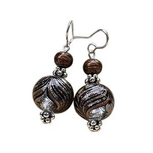 Boucles d'oreilles en véritable verre de Murano, billes dégradés bariolés marron et argent