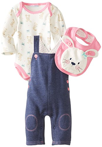 Vitamins Baby Baby-Girls Newborn Plush Bunny 4 Piece Fleece Overall Set, Navy, 9 Months front-935508