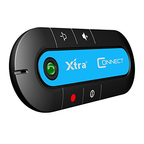 XTRA Connect Portable Multipoint Wireless HandsFree Bluetooth Sun Visor In-Car Speaker Cell Phone Car Kit with Noise Cancellation & Bluetooth 4.1V Caller ID feature for Safety Driving - Blue