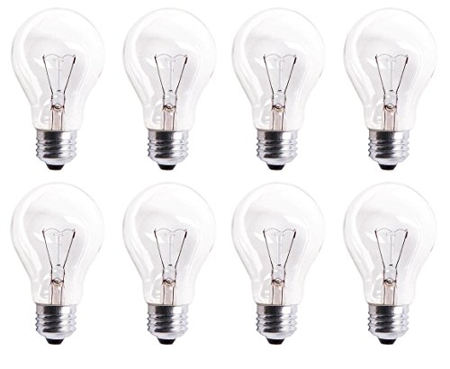 Pack Of 8 60A19/CL 560 Lumens 60 Watt Standard Household A19 E26 (Medium) Base Crystal Clear Incandescent Rough Service Light Bulb (Clear Bulbs compare prices)