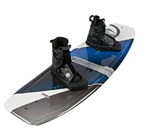 Amazon.com : Hyperlite 140 Motive Wakeboard with Frequency Boots, 140cm, White/Red ...