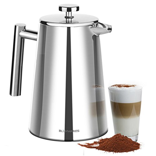 Blümwares 50 Ounce (1500ml) French Press Coffee Maker | Stainless Steel 18/10 SFP- 50DSC | Stainless Steel Screen Included